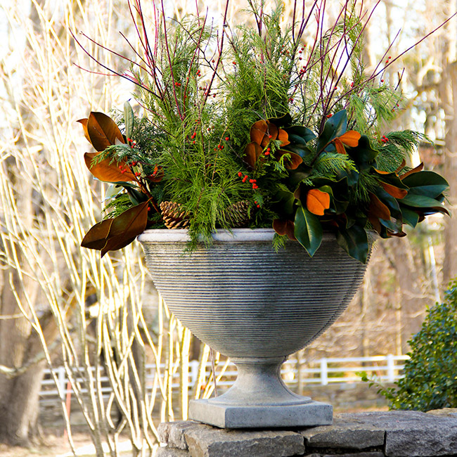 The LaurelRock Company provides year-round property enhancements such as Winter holiday planters.